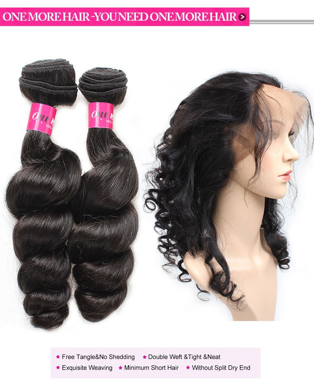 Brazilian Virgin Remy Hair Loose Wave Hair Weave Bundles With 360 Lace  Frontal Cheap Hair Extensions 33e6b97fdb