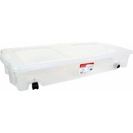 Rubbermaid Wheeled Underbed Box - Walmart.com Reclaims storage space under the bed or in the closet Underbed storage container designed to fit in tight ...  sc 1 st  Pinterest & Rubbermaid Wheeled Underbed Box - Walmart.com Reclaims storage space ...