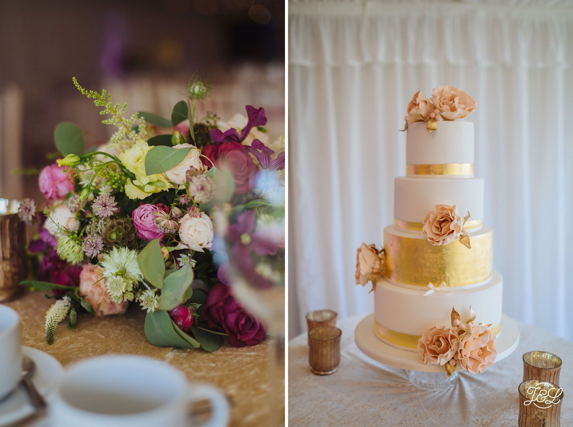 Wedding cake Gold and pink classic elegant