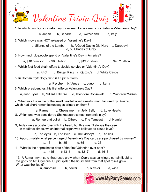 Free Printable Valentine Trivia Game With Answer Key In 2020 Valentines Printables Free Valentines Games Valentines Day Trivia