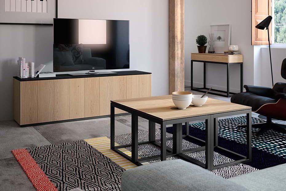 alpina eik tv meubel met plint en keramiek top salontafel cube