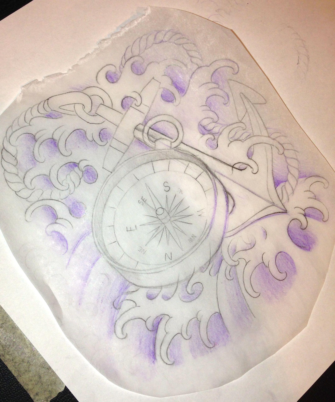 Arm, Anchor, Compass First Draft Tattoo Template Dec