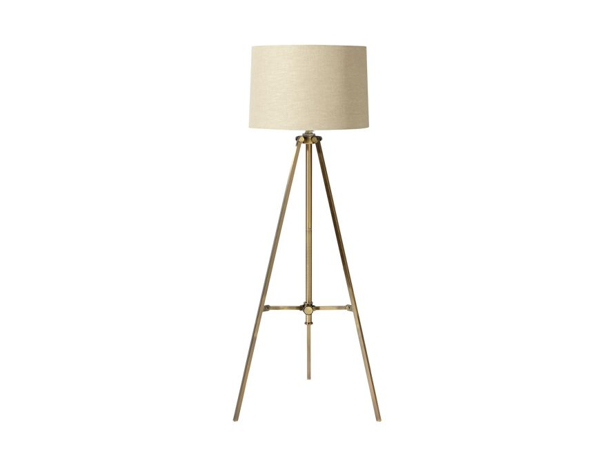 Clarence Floor Lamp With Natural Shade In Antiqued Brass Arhaus