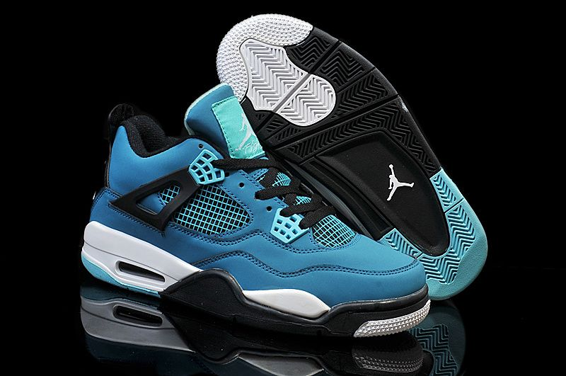 AAA Quality Air Jordan 4 2015 Style Men Shoes Light Blue Black