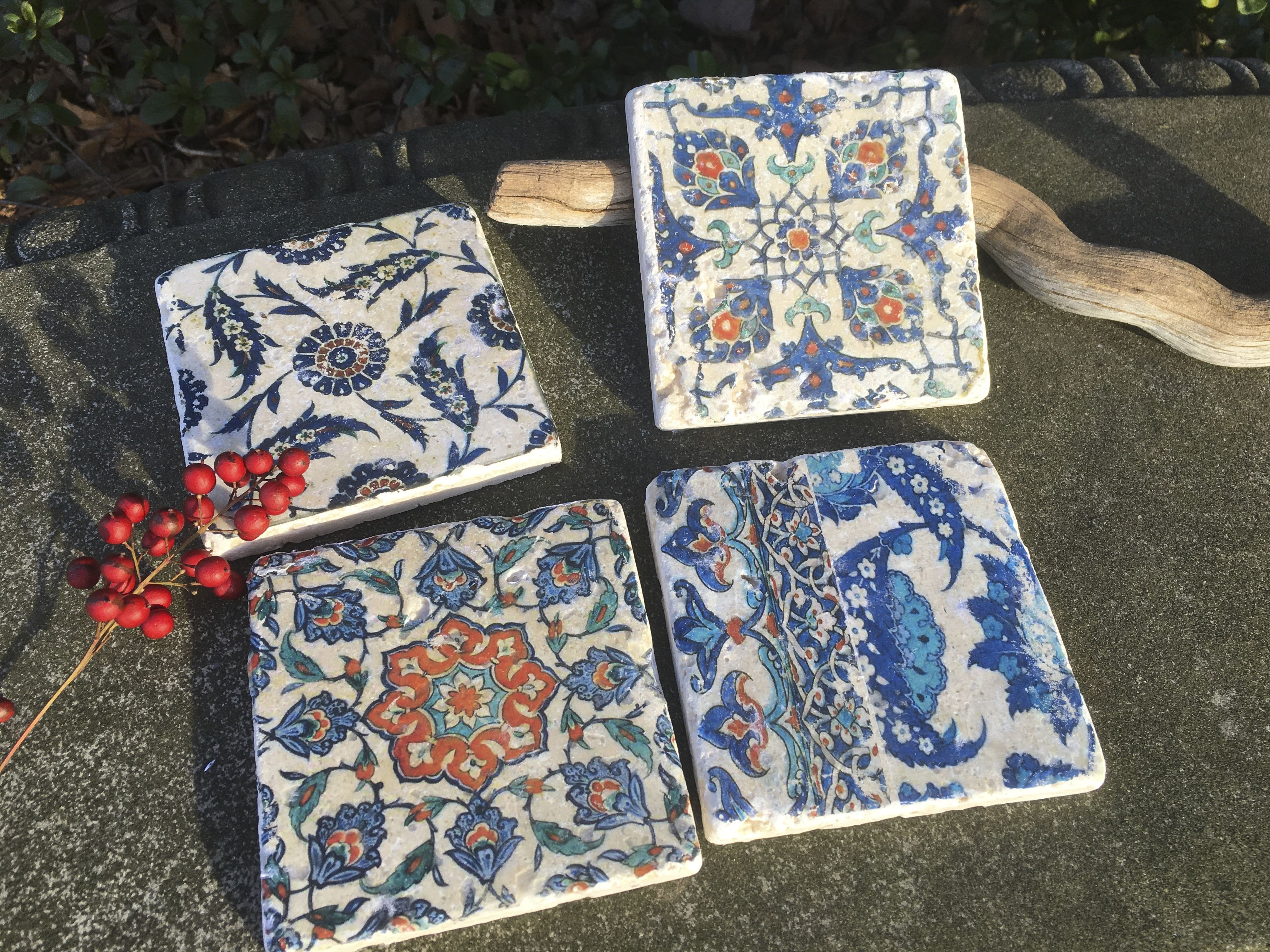 Iznik Turkish stone coasters Hand made by Poppy and Olive Designs