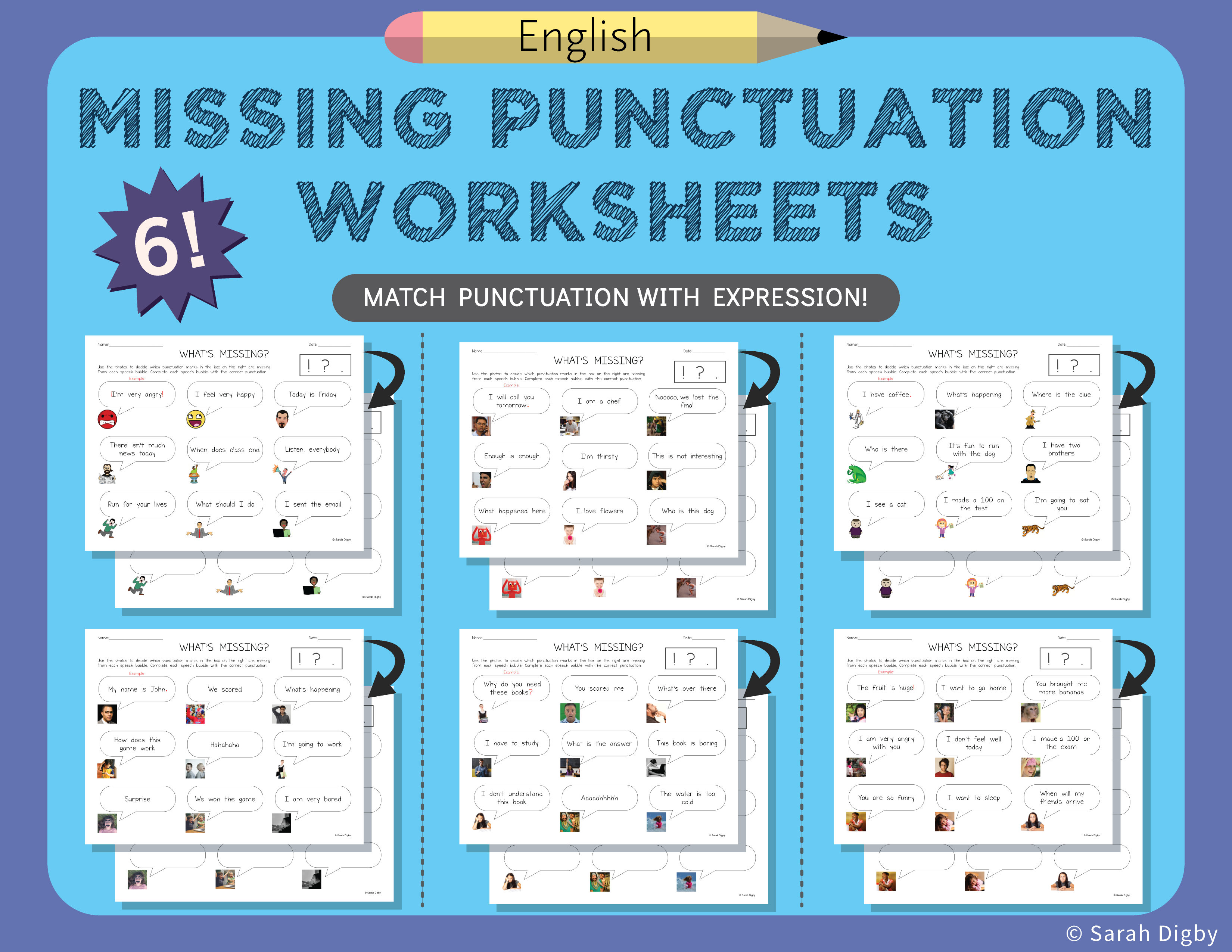 6 Double Sided Missing Punctuation Worksheets English