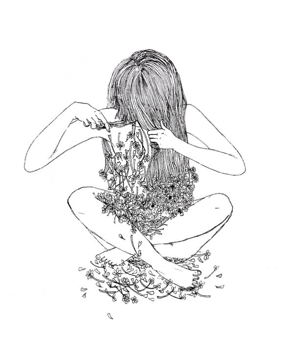Illustration of girl cutting her hair by Amanda Chung
