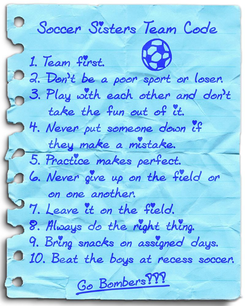 "Take a sneak peek at ""The Code"" -- the soccer and life rules that all of the #Soccer Sisters strive to uphold. Go Runners>3"