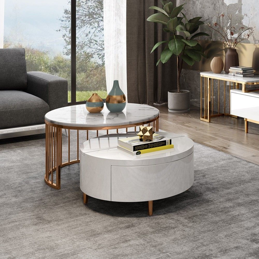 Modern White Walnut White Round Coffee Table With Storage Wood Rotating Marble Nesting Coffee Table In Rose Gold Set Of 2 Nesting Coffee Tables Coffee Table White Round Coffee Table [ 1000 x 1000 Pixel ]