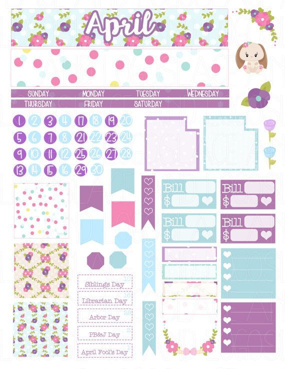 886aff46ca9d Printable Planner Stickers April Monthly Kit View by LaceAndLogos ...