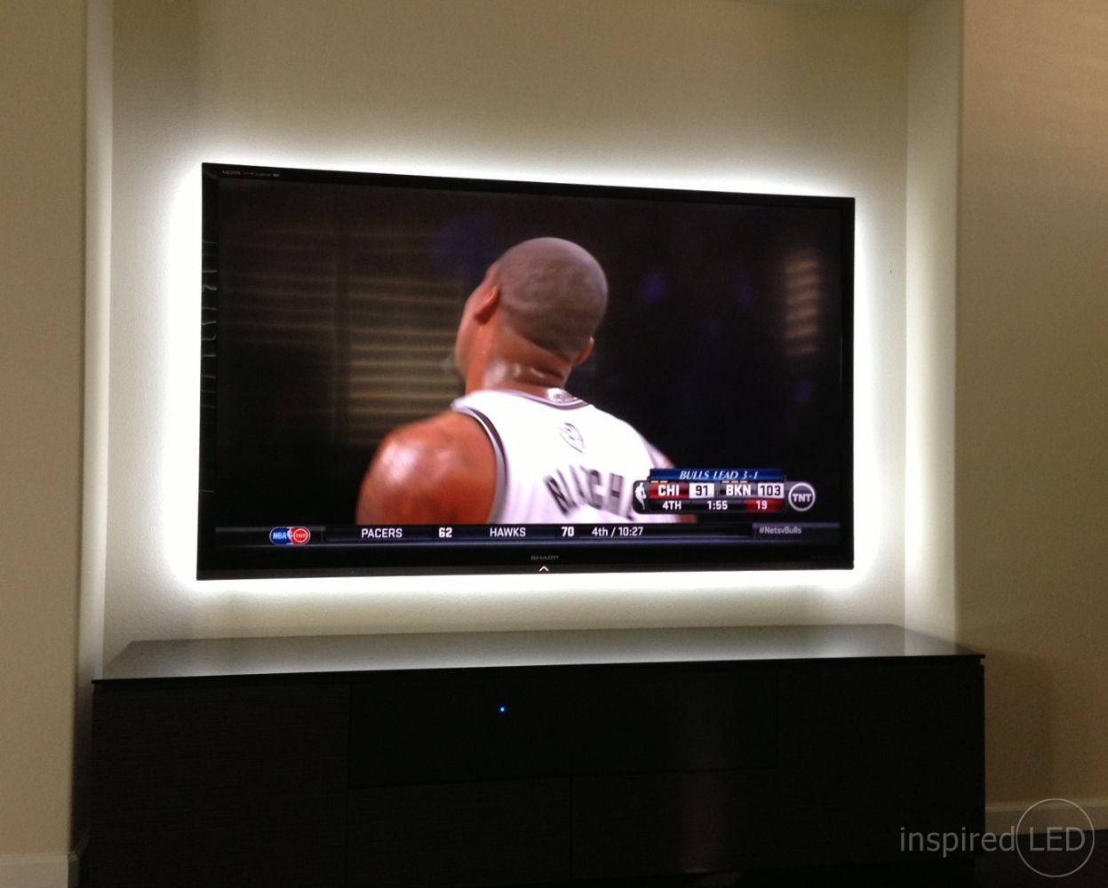 Cool Idea Led Lighting Behind A Tv To Reduce Eye Strain Led Living Room Lights Lights Behind Tv Living Room Lighting