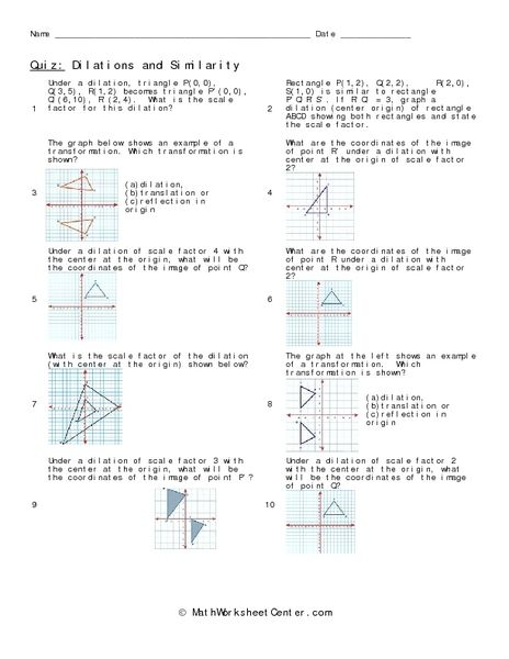 Dilations And Similarity Worksheet Math Worksheets Geometry Worksheets Transformations Math
