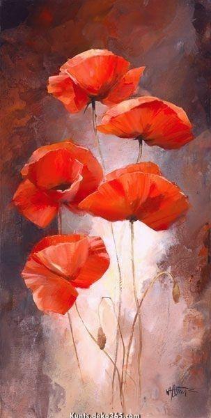 Willem Haenraets Artist 12980 Leinwand Gemalt Mit 5 Mohnblumen Blumen Malen Acryl Mohn Malerei Blumen Gemalde