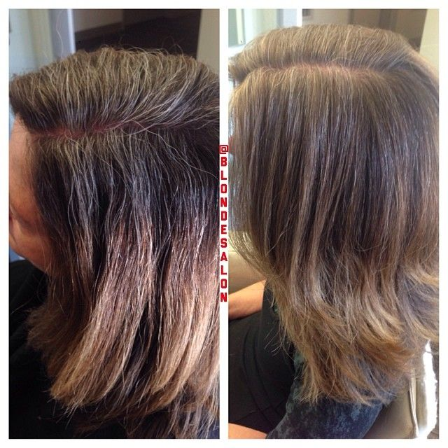 Grey blending with 2 shades of blonde and 2 of light brown ...
