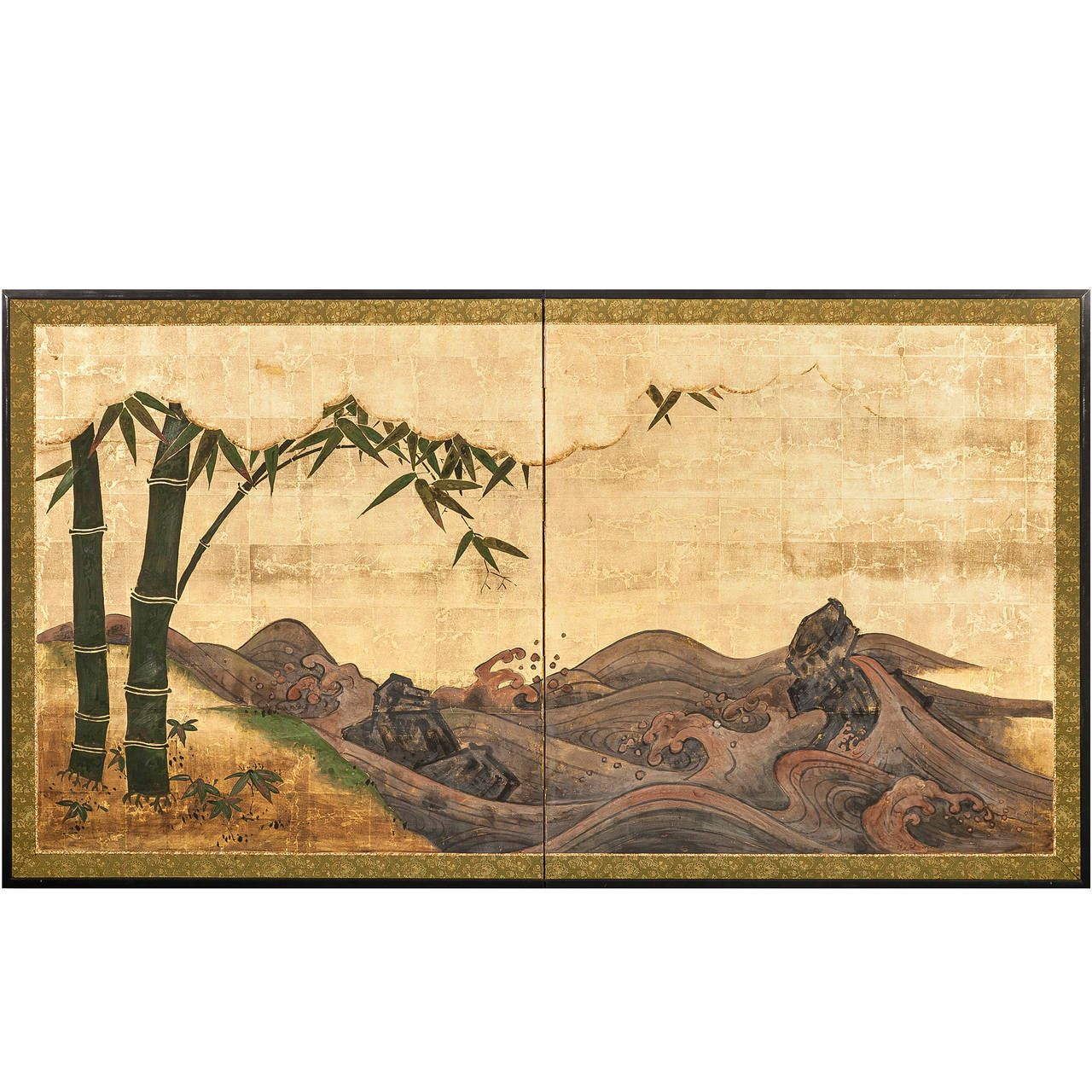 Antique japanese screens for sale - View This Item And Discover Similar Paintings And Screens For Sale At Japanese Screen Painting Of Seascape And Bamboo Colored Pigments On Gold Leaf