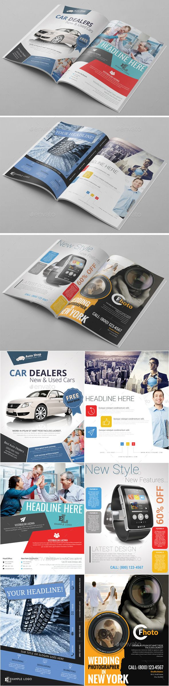 6x Magazine Ad Template Pack Template Design Journal Download