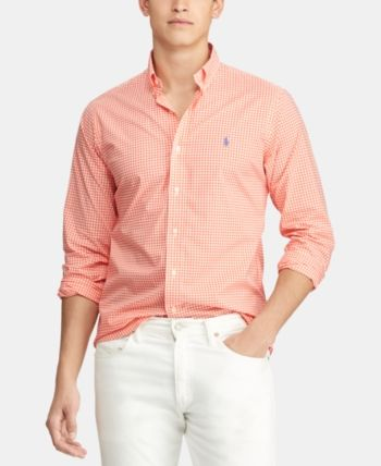0a2f14148 Polo Ralph Lauren Men's Slim Fit Patterned Poplin Shirt - Tangerine/white  2XL
