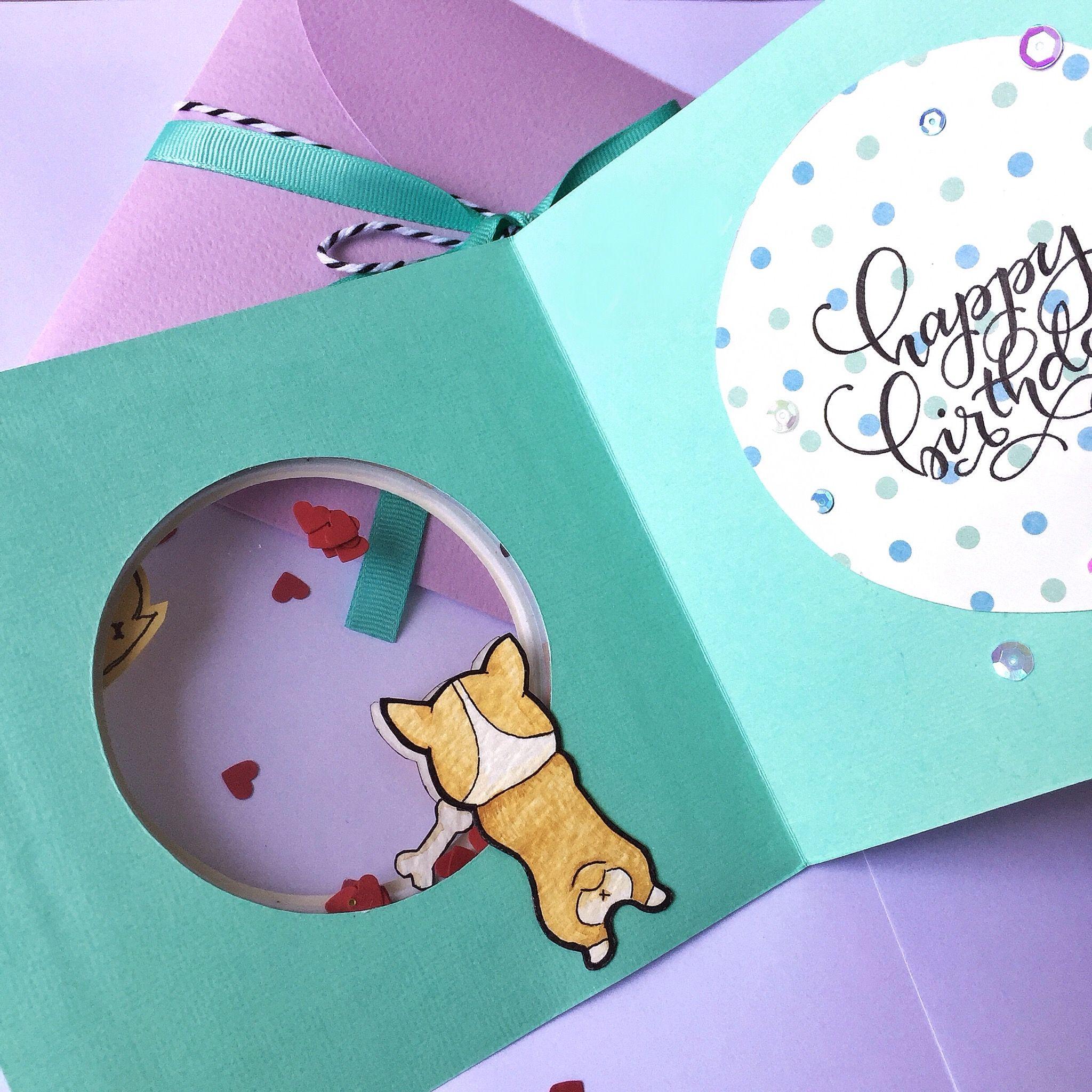 Corgi Birthday Shaker Card Cards Card Design Dog Cards