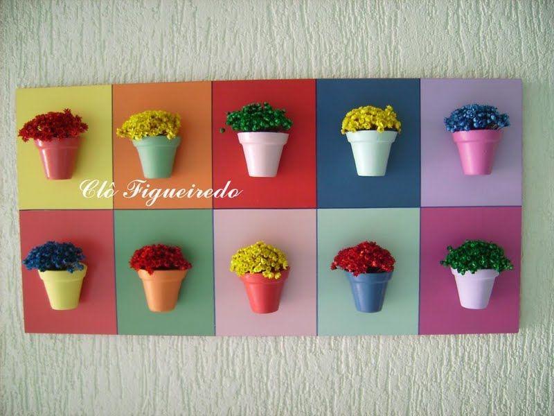 vasinhos coloridos sobre placa de MDF(Clô Figueiredo)