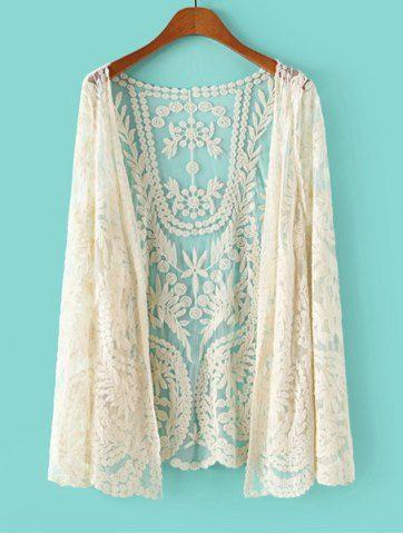 Stylish Lace Crochet Flower See-Through Long Sleeve Women's Blouse Blouses   RoseGal.com Mobile