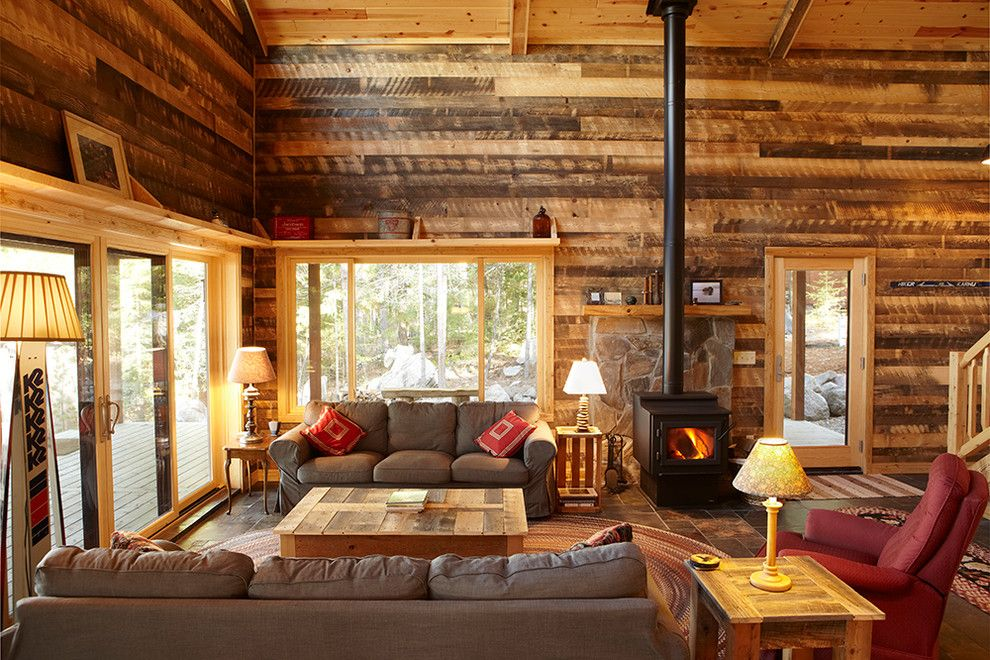 awesome rustic cabin decor for living room section