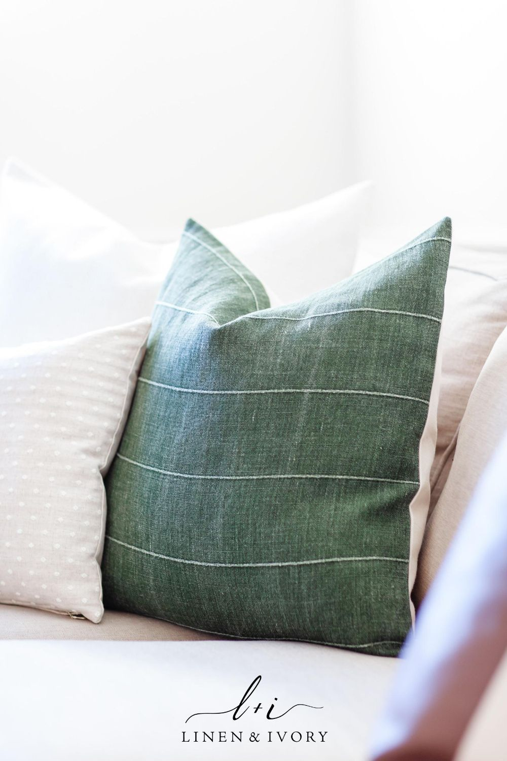 TRUETT || Dark Green Linen Pillow Cover
