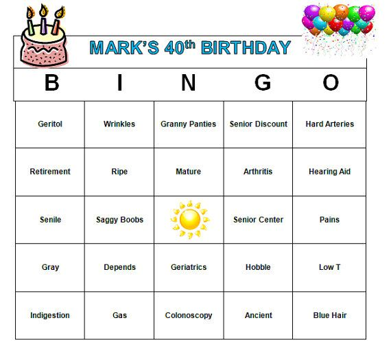 Personalized 40th Birthday Party Bingo Game -Funny Age