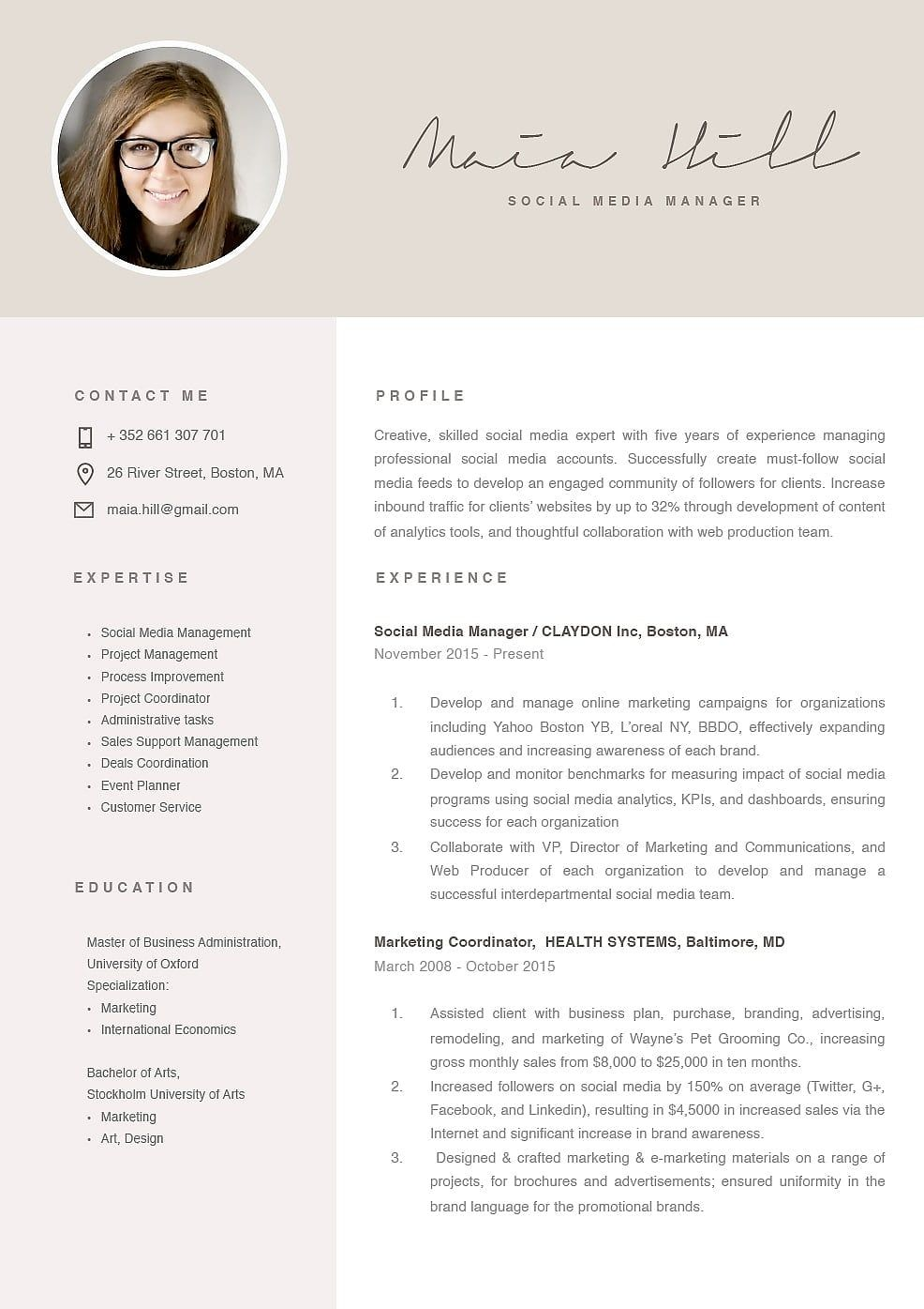 Modern Resume Template 120100 - Modern resume template, Marketing resume, Modern resume, Resume layout, Resume, Marketing strategy social media - Modern resume template 120100 (color brown)  Choose from over 100 professionally designed resume templates in Microsoft Word and Pages  Easy to use