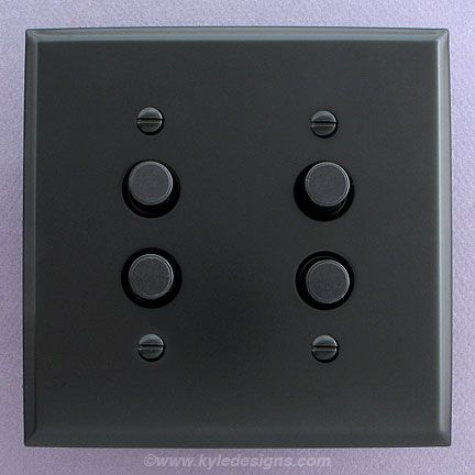 Black Antique Reproduction Style Push On Light Switches Flat