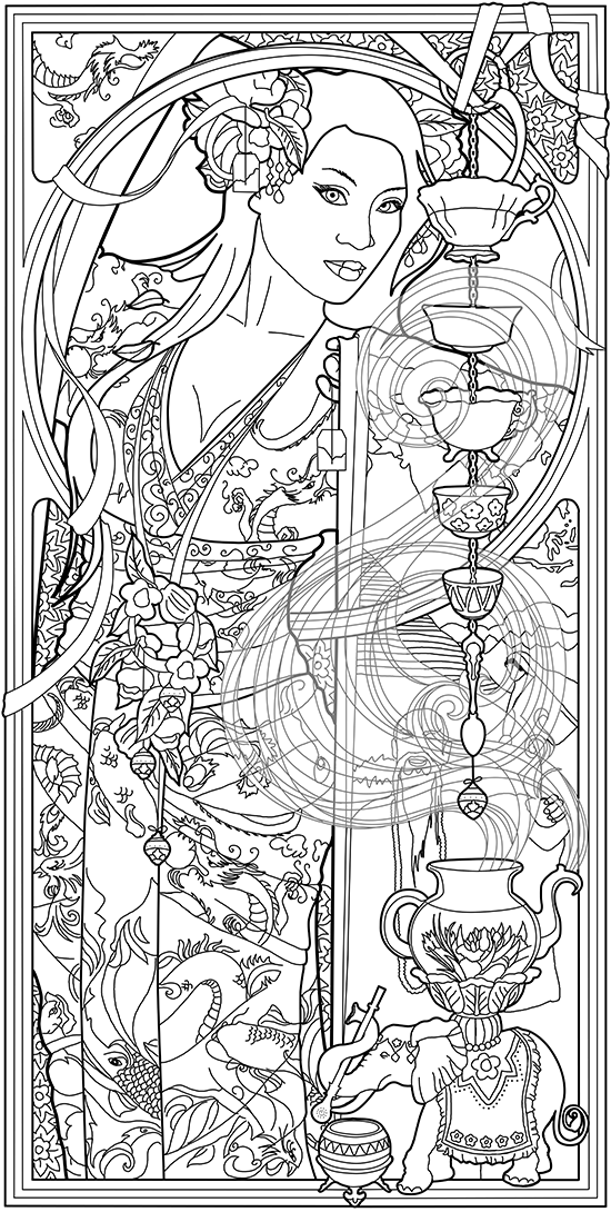 Goddess Of Tea To Color