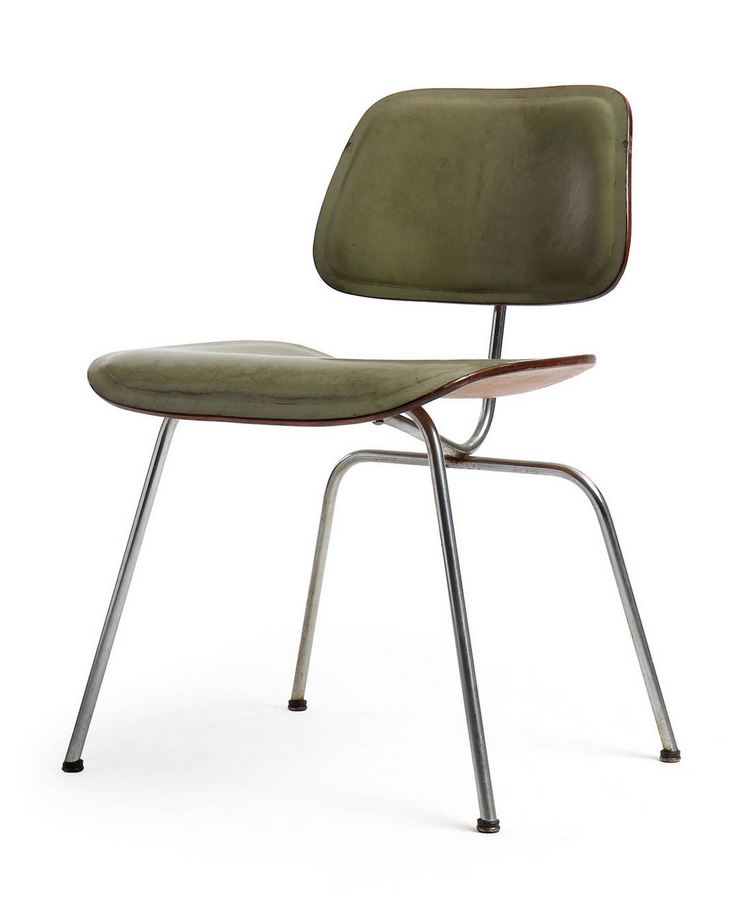Charles and Ray Eames; Leather Molded Plywood and Chromed Steel