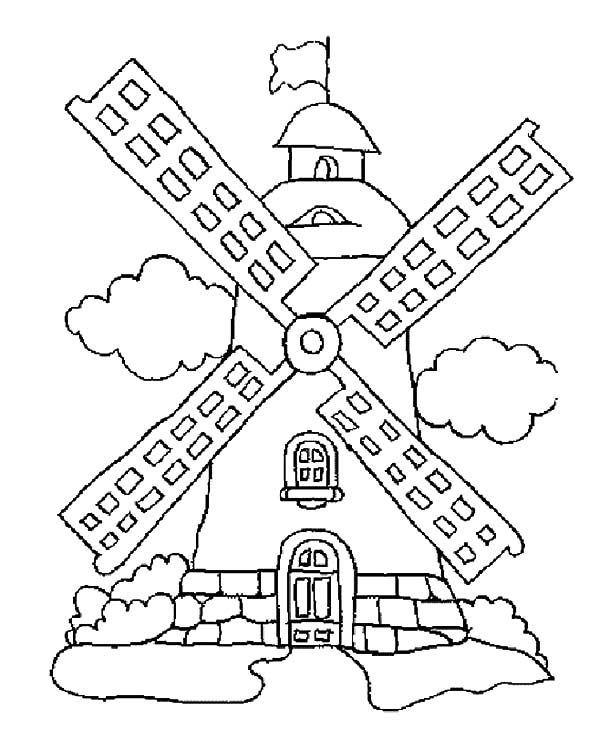 Coloring Page Windmills Windmills Cool Coloring Pages Color