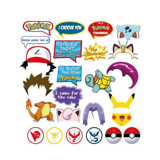 Pokemon Photo Booth set 25 pieces - Printable, Instant Download