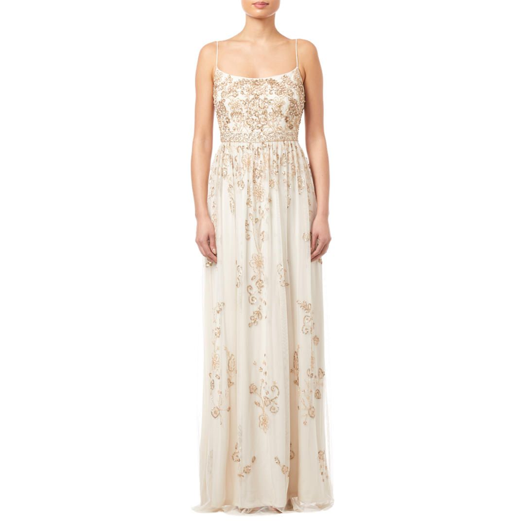 Adrianna Papell Beaded Long Dress Pearl Dresses Long Dress Wedding Guest Gowns [ 1080 x 1080 Pixel ]