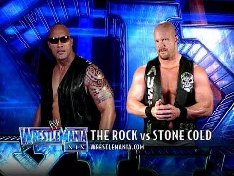 Wwe Wrestlemania 19 The Rock Vs Stone Cold Steve Austin The Rock Dwayne Johnson Dwayne The Rock Stone Cold Steve