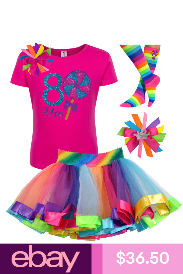 Bubblegum Divas Big Girls 8th Birthday Giant Swirly Lollipop Rainbow Tutu Outfit