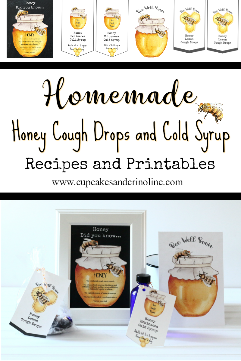 Honey is amazingly versatile! Use it to make Homemade Cough Drops and Cold Syrup and use it in your beauty products. Recipes and free Honey printables can be found at www.cupcakesandcrinoline.com  #DonVictorHoney #HappyHealthyHoney #ad @donvictorhoney
