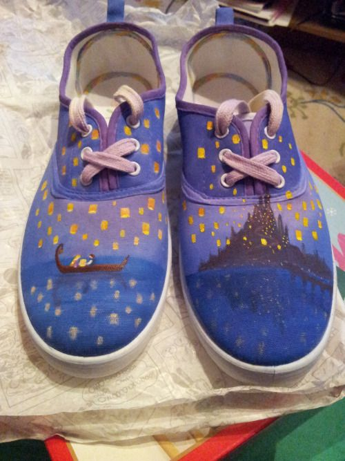 """gingernutsandtea: """"Another Christmas present: Tangled 'I See the Light' hand-painted shoes! I painted plain white canvas shoes with the scene from the movie, with Corona suns on the side and a teeny tiny Pascal on the back :B """""""