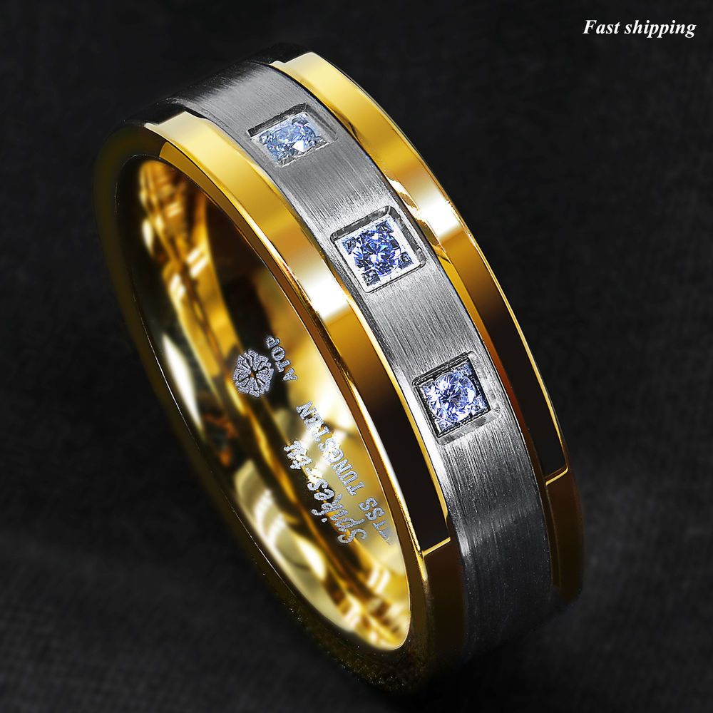 Details about 8mm Silver Tungsten Ring Brushed 18K Gold