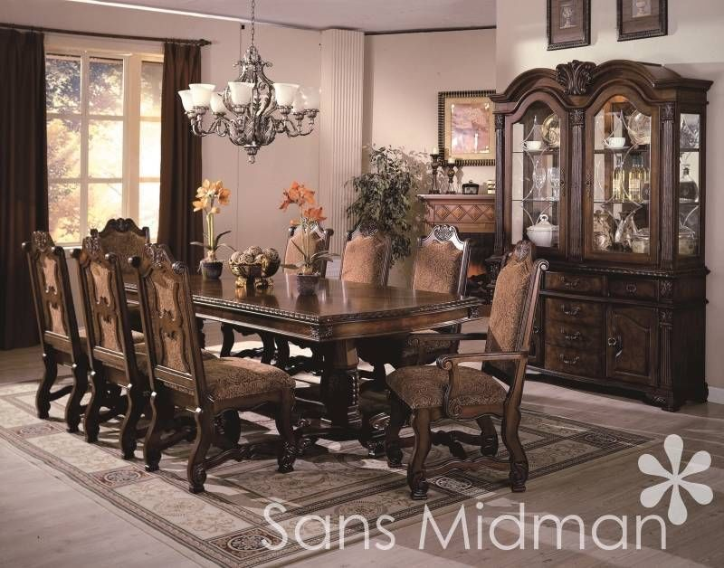 Details About 10 Piece Bordeaux Formal Dining Room Table