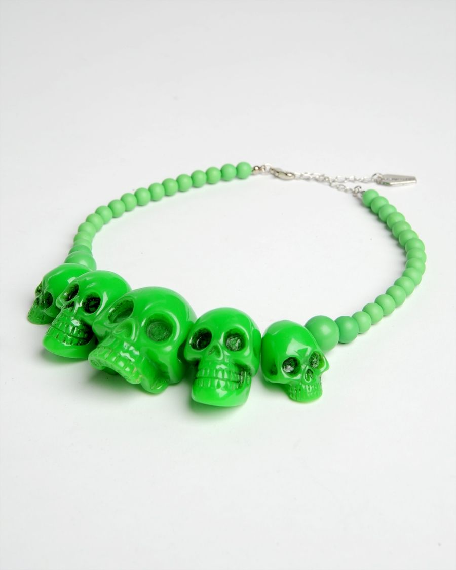 Skull Collection Necklace in Green