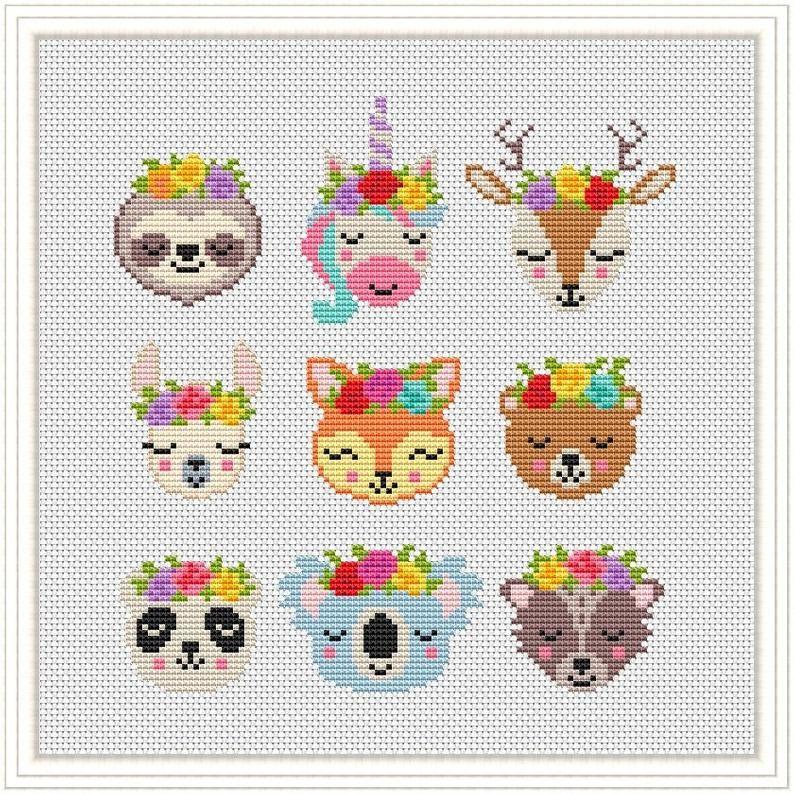 Cross Stitch Cute pattern Animals  Funny Fox Llama Deer Bear | Etsy