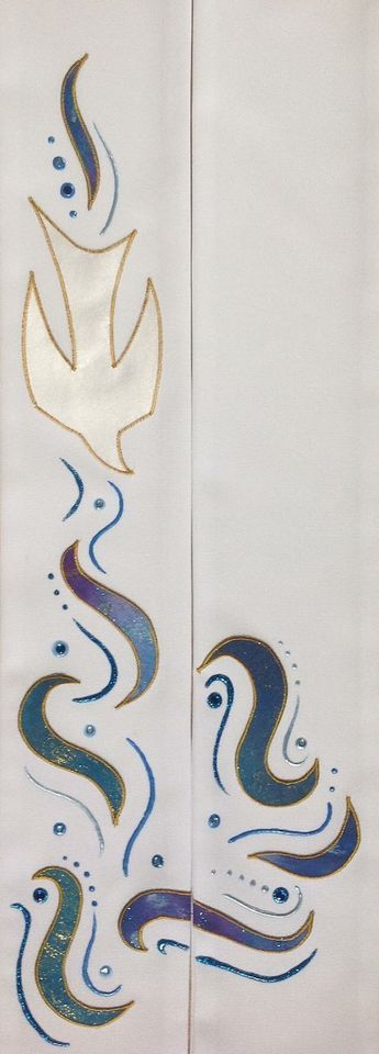 Priest Stole Dove and water design on white #churchitems