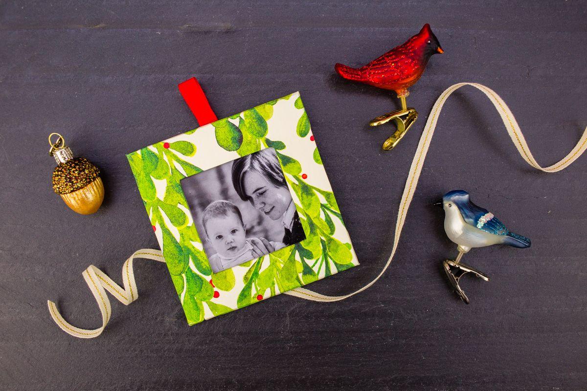 DIY Photo Frame Ornament tinselandtrim Photo frame