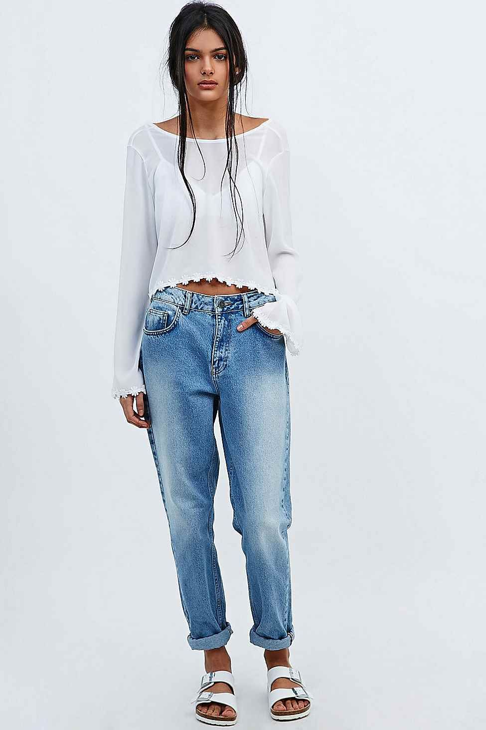 Urban Renewal Vintage Remnants Bell Sleeve Crop Top in White