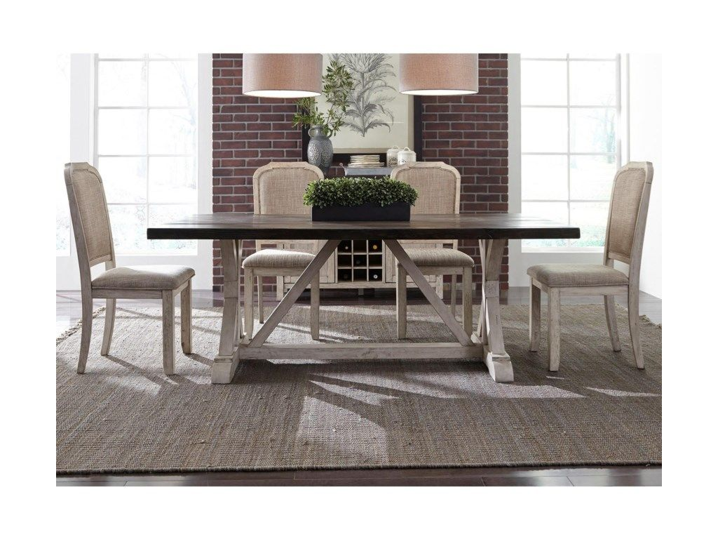 Willowrun Relaxed Vintage 5-Piece Trestle Table Set by Freedom Furniture at Ruby Gordon Home