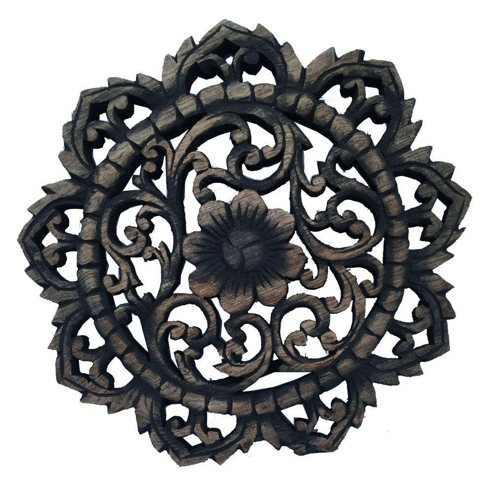 Round wood plaque oriental carved lotusteak wood wall hanging