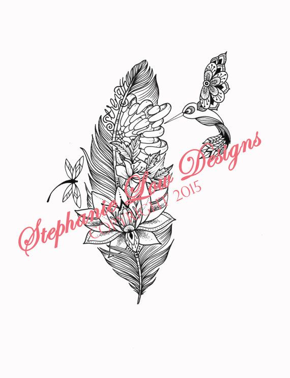 Custom Tattoo Illustration For Jennifer S A Floral Feather With A Lacey Little Hummingbird And Drag Tattoo Illustration Dragonfly Tattoo Design Custom Tattoo