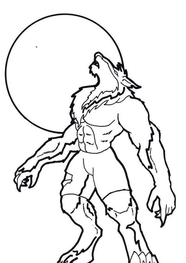 Scary Sound Of Howling Werewolf Coloring Page Coloring Sun Halloween Coloring Pages Halloween Coloring Pages Printable Scary Halloween Coloring Pages