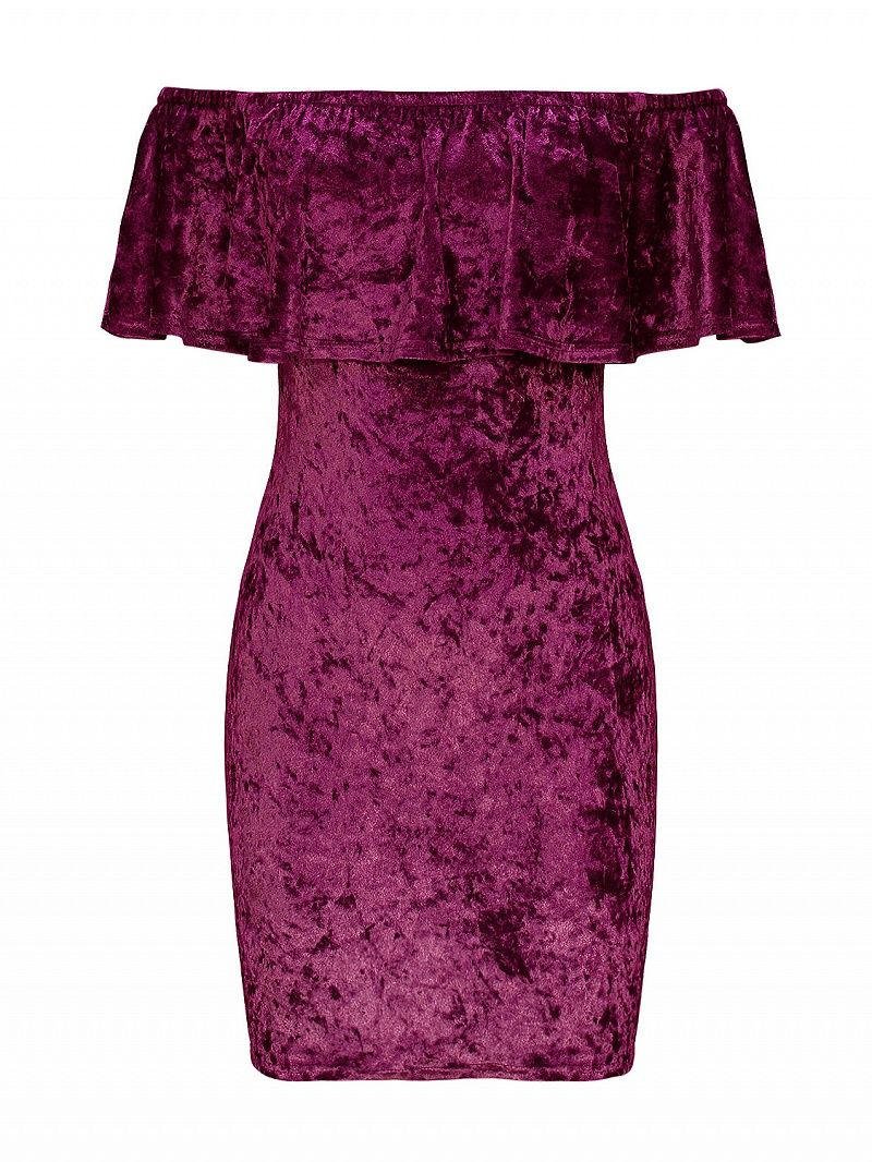 9d3f5b9b7e83 Purple Off Shoulder Ruffle Velvet Bodycon Dress  Velvet fabric Off the  shoulder Ruffle detail Slim fit - cut close to the body Hand…